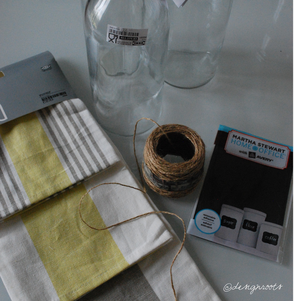 Supplies: glass carafes/jars, chalkboard labels, dish towel, ribbon, drink recipe