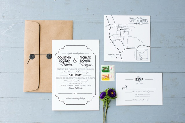 Vintage simple black and white wedding invitation suite with string tie envelopes by Design Roots