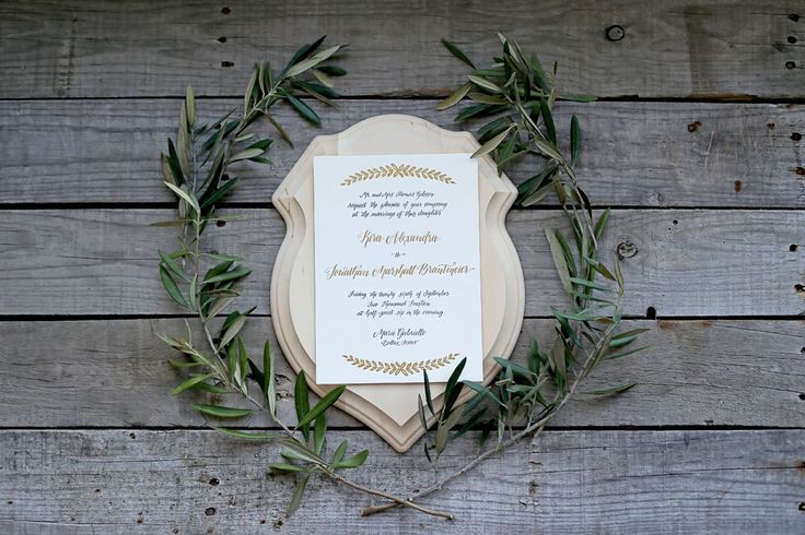 laurel leaf + calligraphy wedding invitation