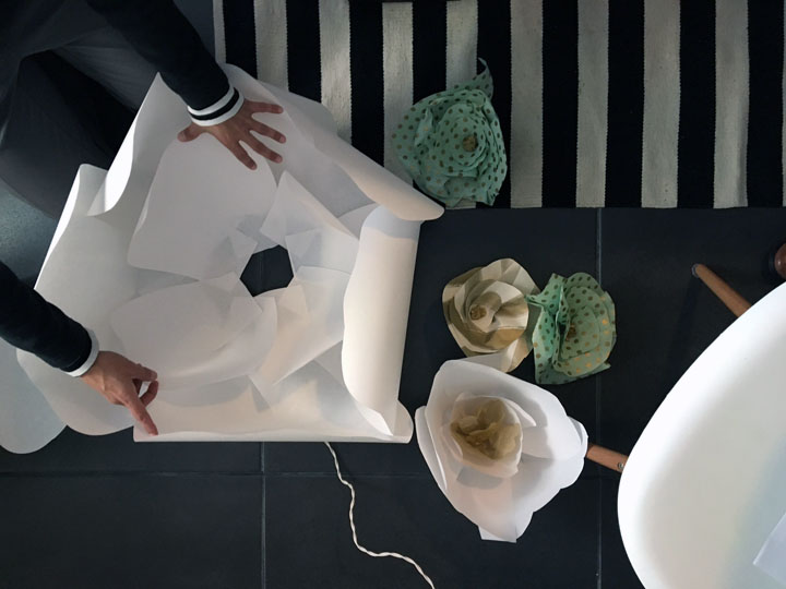 giant paper flower assembly