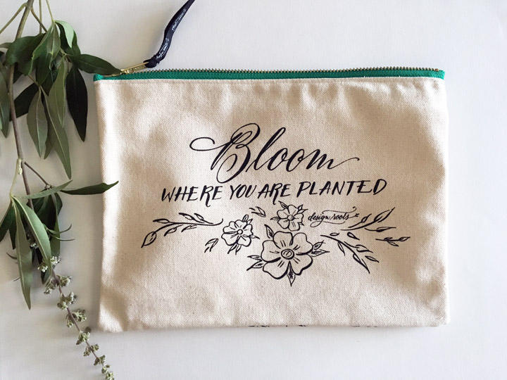 Floral Bloom Canvas Pouch Front.jpg