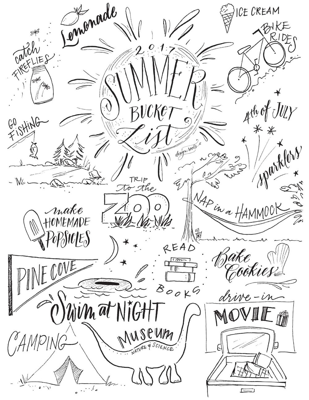 designroots summer bucket list printable