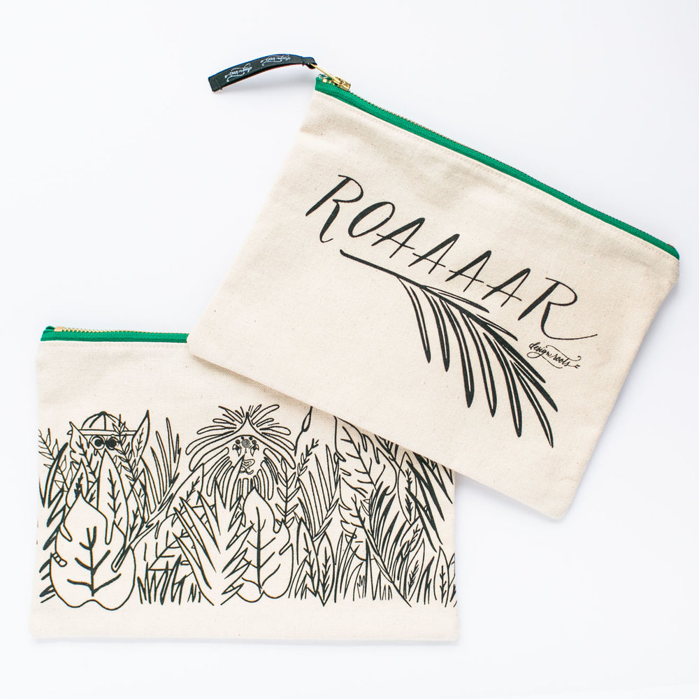 safari themed canvas pouch