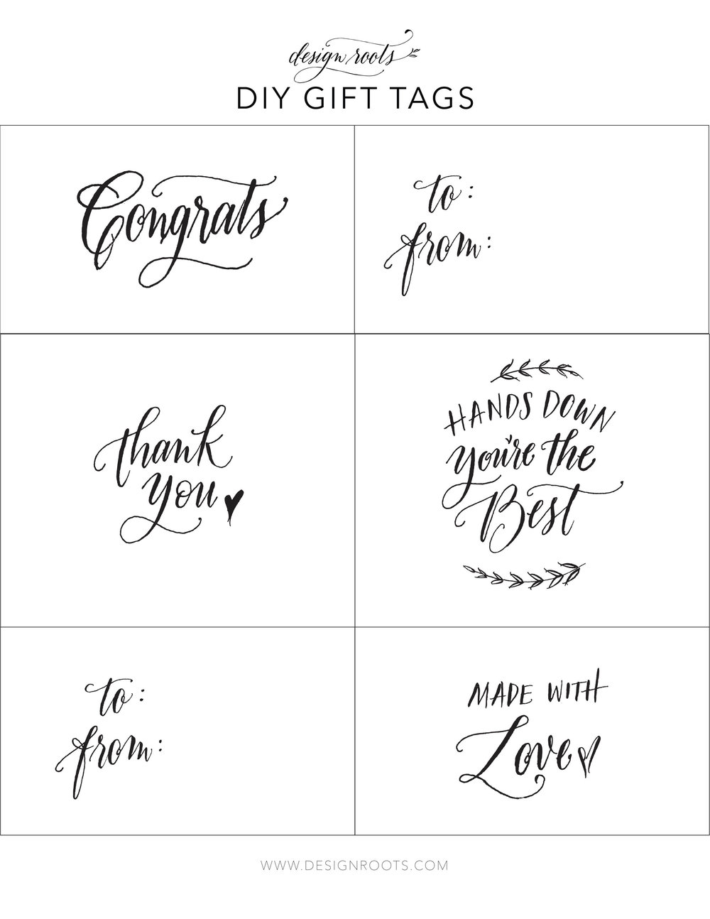 Design Roots Printable gift tags