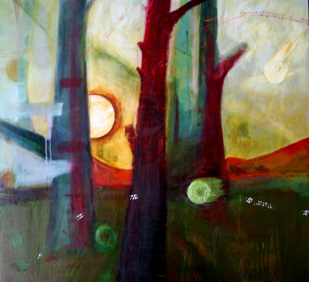 Through the Trees, Mixed Media, 36x48, 2010
