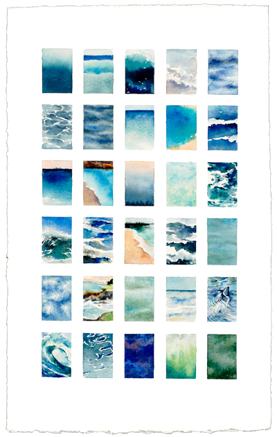 Sea   x 30   17 x 13  watercolor  Sold by Gallery of Great Things