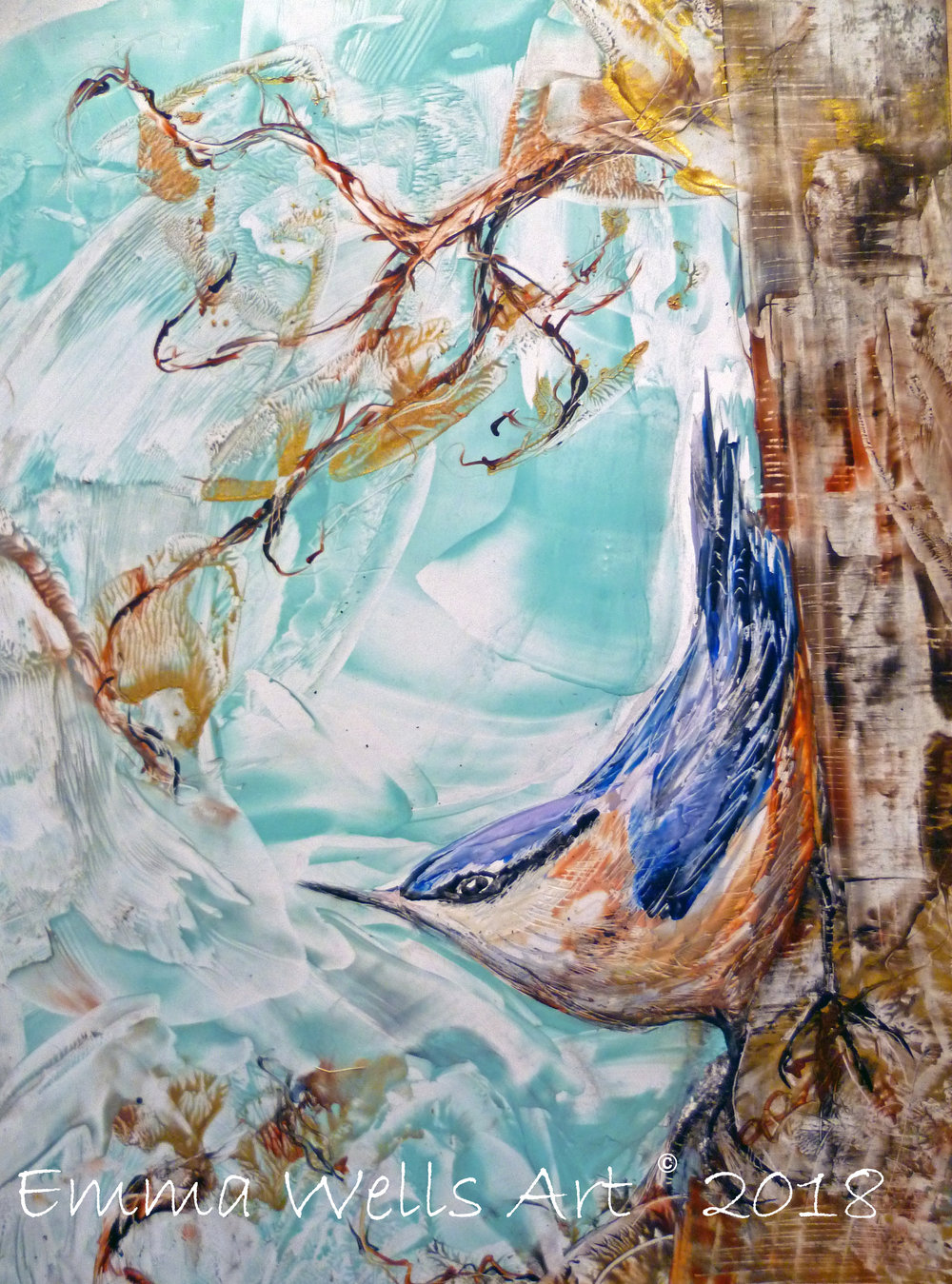'The Nuthatch' Encaustic wax on card. Part of a collection by Emma of British Garden Birds.