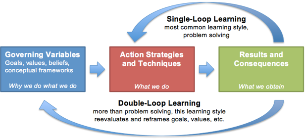 Adapted from interpretations of Argyris's writings:    Chris Argyris: theories of action, double-loop learning and organizational learning       and   Doing Things Right vs. Doing the Right Things