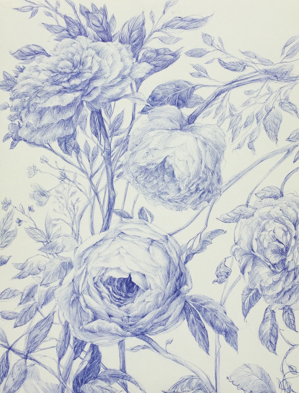 Still Life With Flowers in Blue I
