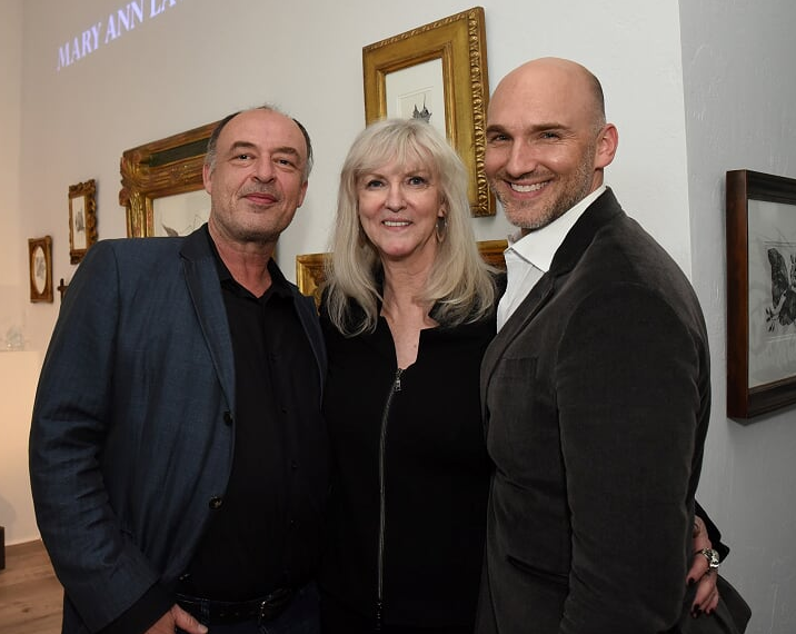 Peter Werkhoven of Aedicule posed with pointillism artist Mary Ann Lawson and  Gallery owner Ian Stallings