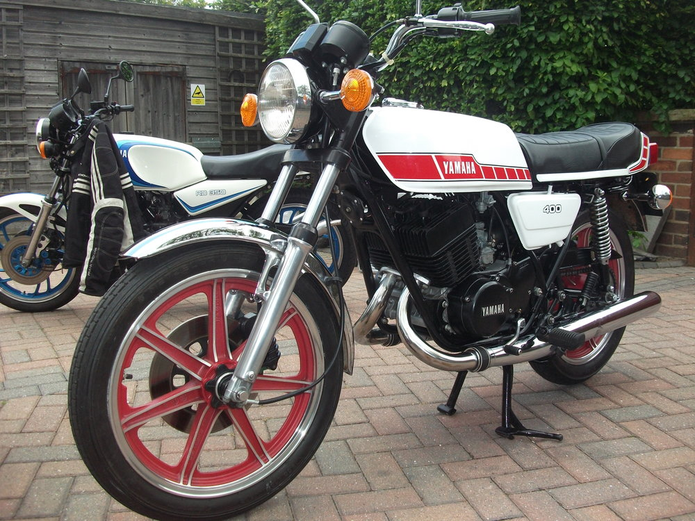 NOW SOLD . Very nice RD400E for sale on customers behalf. undergone a mild restoration but still retains many original parts and fasteners , only 16,000 miles, full MOT and ready to ride.