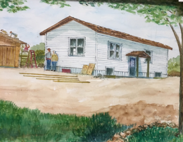 UUI Youth at work on the 2007 Habitat House and Garage. Watercolor, painted on site in July, 2007 by Culver Godfrey in shelby, michigan.