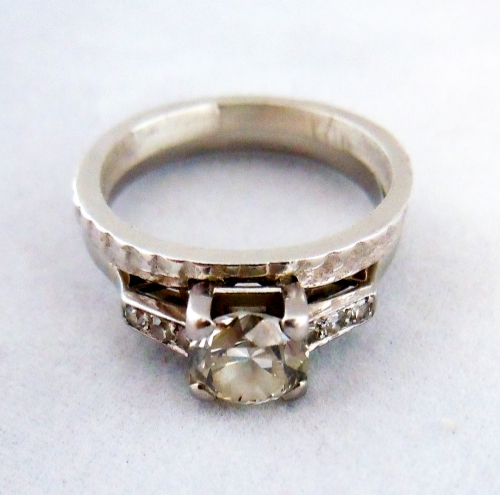 Antique Platnum Engagement Ring with Cuttlefish Band