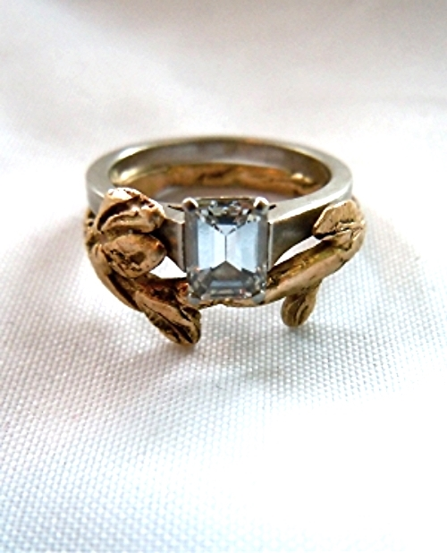 Antique Engagement Ring and Leaf Wedding Band