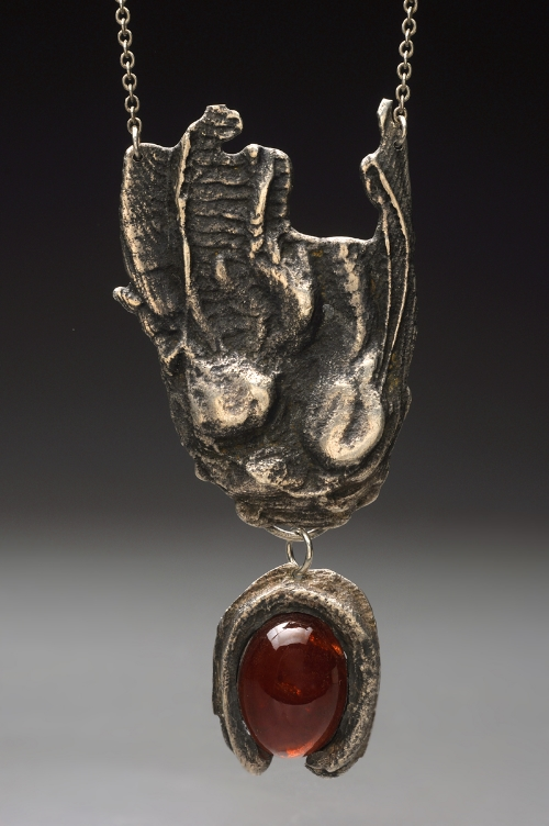 Drop Cuttlefish Casting and Garnet Stone