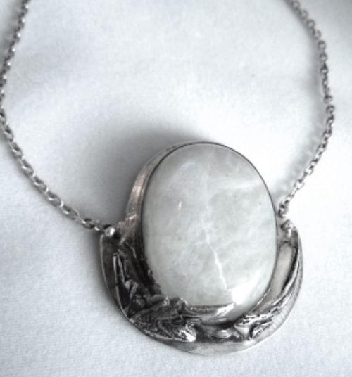 Moonstone and Thistle Pendant