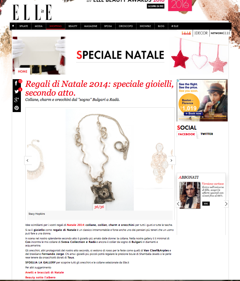 Persimmon Flower Necklace- Italian Elle