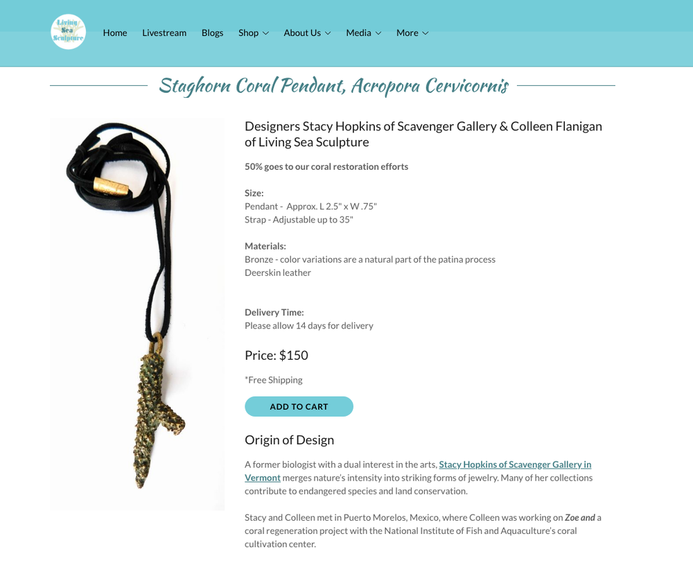 Staghorn Pendant featured on Living Sea Sculpture 6/18