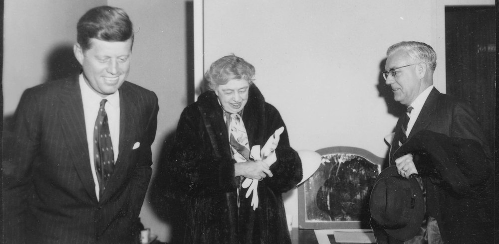 First Lady Eleanor Roosevelt, a champion of equal rights, joined by John F. Kennedy on her visit to Waltham, January 2, 1960.