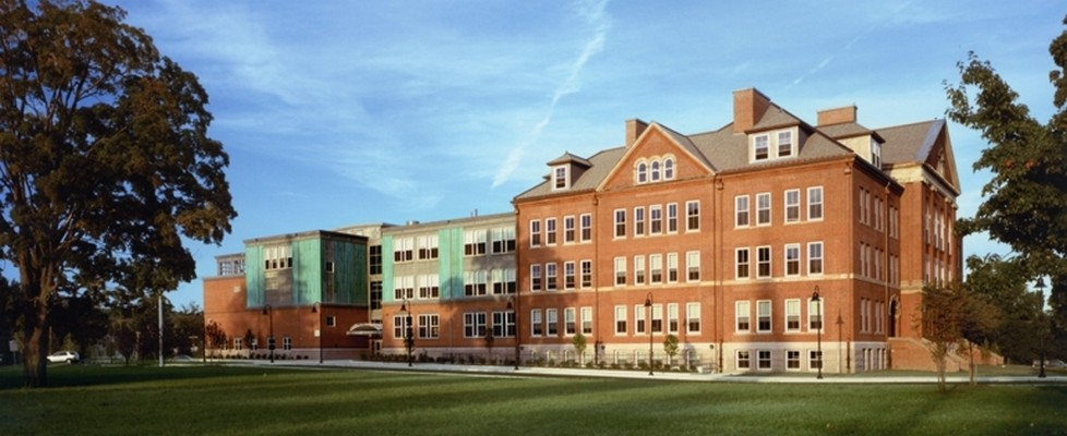 An image of the old Waltham High, which is now the McDevitt Middle School.