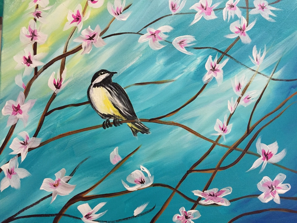 Chickadee with Spring Blossoms