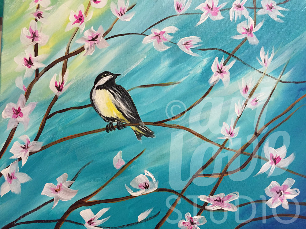 Chickadee in Spring Flowers