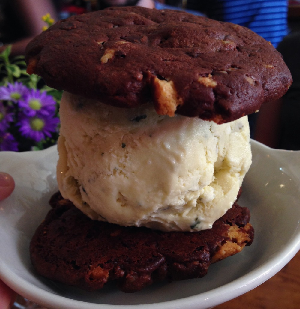{brownie walnut cookies sandwiching fresh mint ice cream}