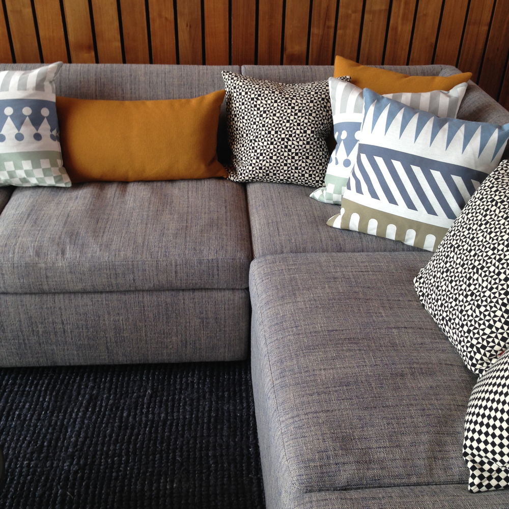 Bevel Sofa and Maharam Pillows