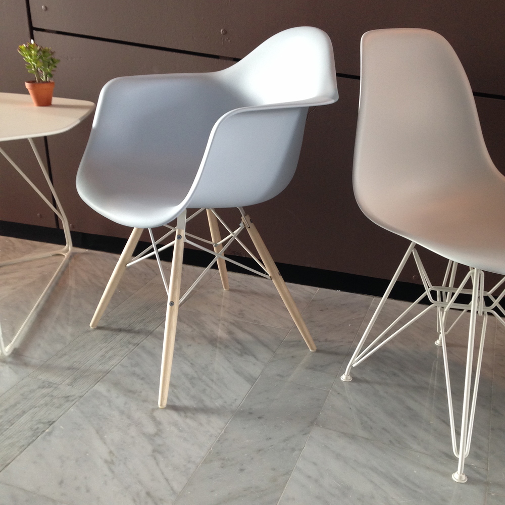 Eames Molded Plastic Chairs, released in new seat and base colors