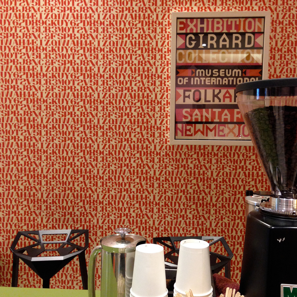 The barista station complimented by Girard wallpaper