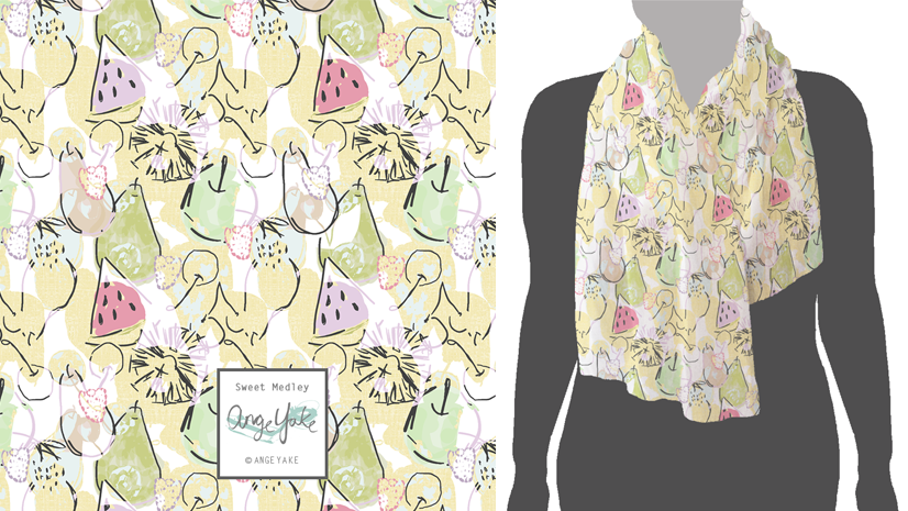 Ange Yake - Custom Surface Design - Submissions - Printed Village - Scarf - Sweet Medley.png