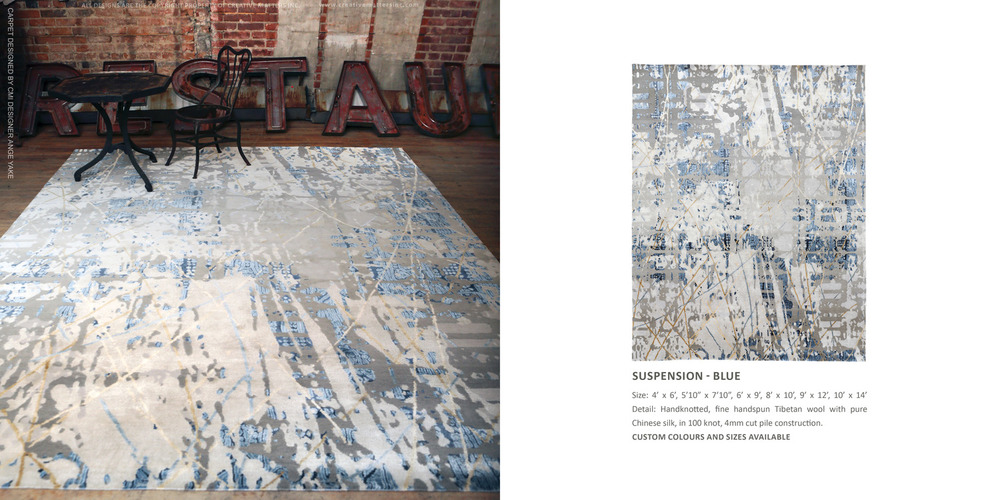 XXV COLLECTION - SUSPENSION BLue.  HAND-KNOTTED FINE, HANDSPUN, TIBETAN WOOL WITH PURE CHINESE SILK, IN 100 KNOT, 4MM CUT PILE CONSTRUCTION. CARPET COPYRIGHT CREATIVE MATTERS INCORPORATED.  PHOTO CREDIT: CHRISTOPHER DROST