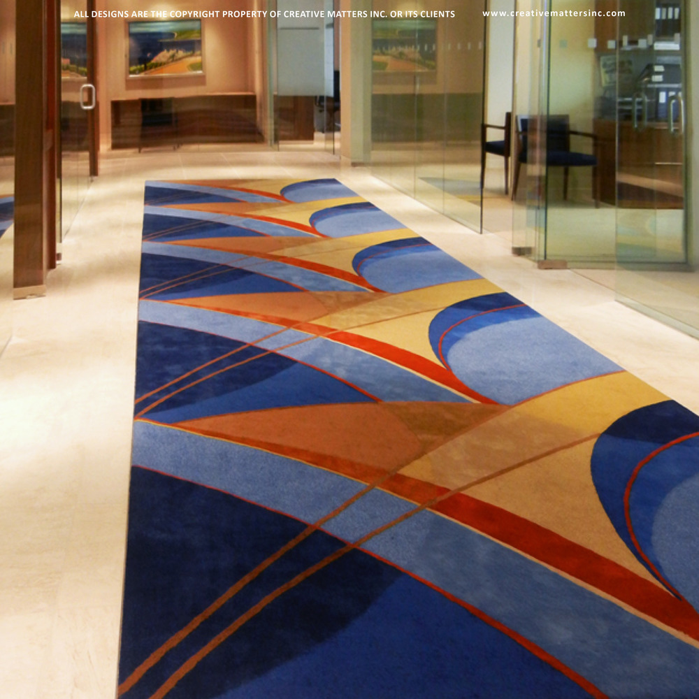Corridor in VancouVer BC with group 5 design associated ltd.    HANDTUFTED IN india, 100% WOOL  . (co-designer Amanda mccusker).   CARPET COPYRIGHT CREATIVE MATTERS INCORPORATED.  Photo Credit: Group 5 Design Associates