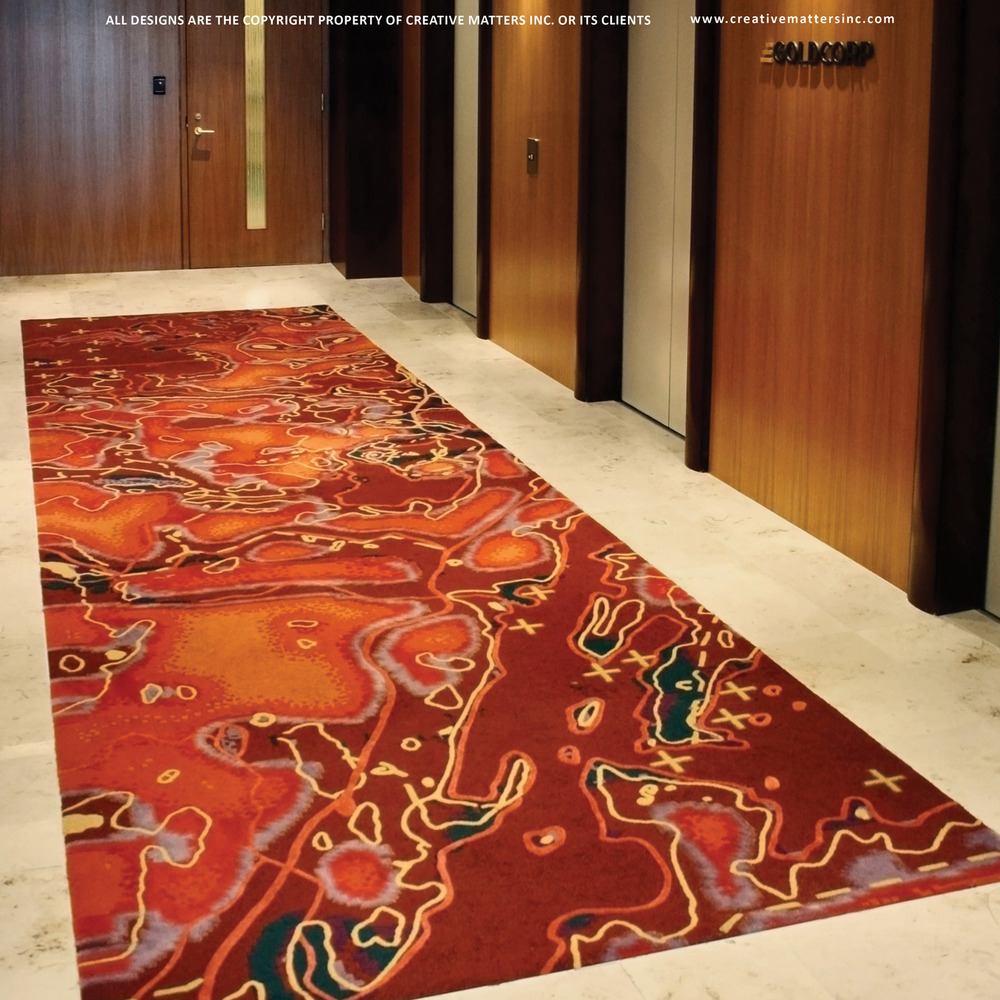 ELEVATOR LOBBY IN VANCOUVER BC WITH GROUP 5 DESIGN ASSOCIATED LTD.   HANDTUFTED IN INDIA, 100% WOOL.  CARPET COPYRIGHT CREATIVE MATTERS INCORPORATED.