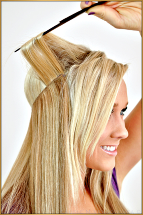 Halo hair extensions sold at Buzz Salon, Iowa City.