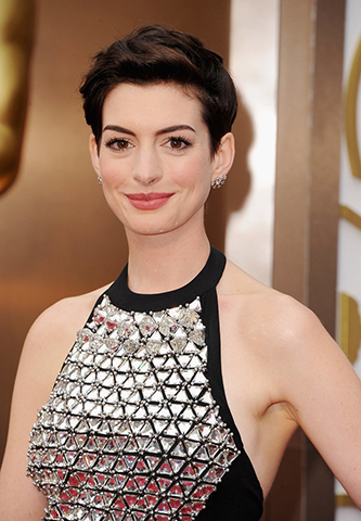 SWEPT BACK MODERN COIF WITH ANNE HATHAWAY