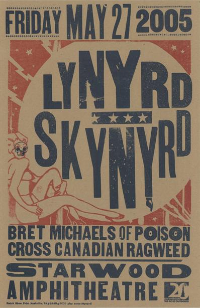 Lynyrd Skynyrd, 2-color letterpress show poster