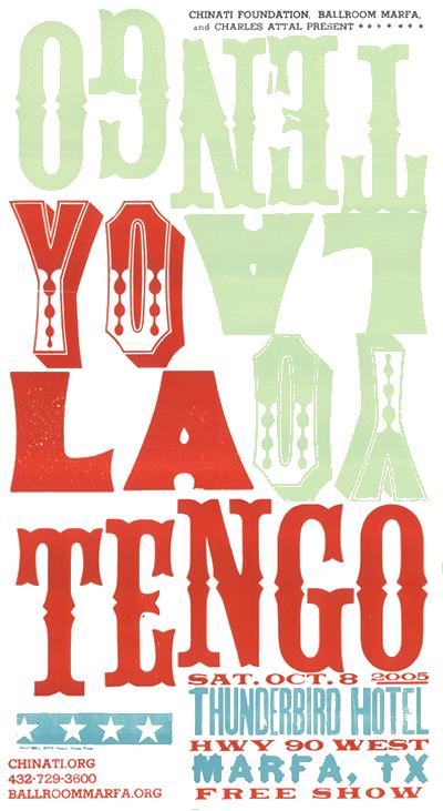 Yo La Tengo, 4-color letterpress show poster, 2005