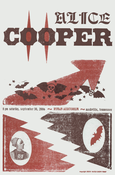 Alice Cooper, 2-color letterpress show poster, 2006