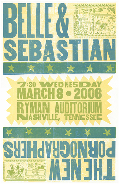 Belle and Sebastian, 3-color letterpress show poster, 2006