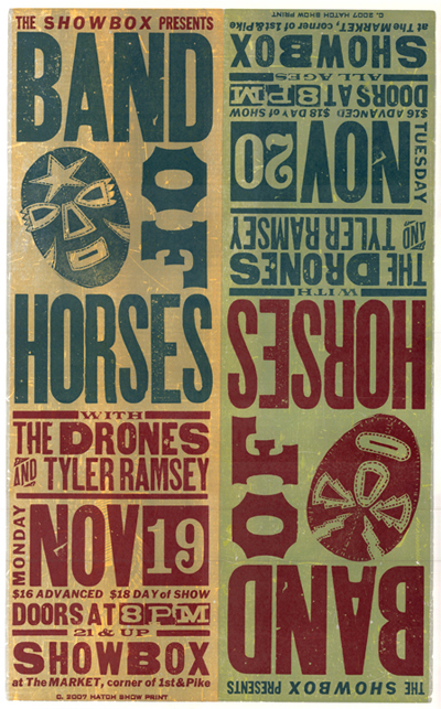 Band of Horses, 5-color letterpress show poster, 2007