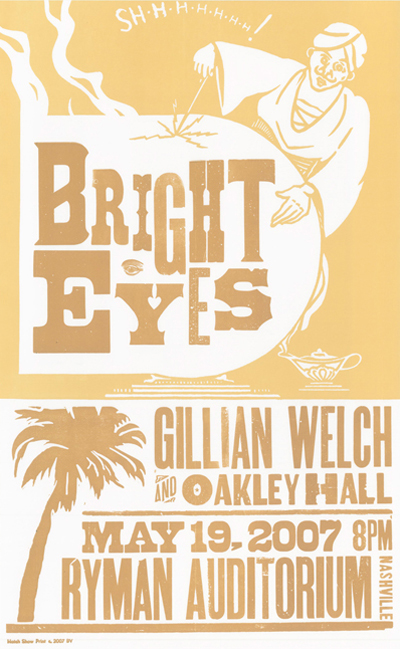 Bright Eyes, 2-color letterpress show poster, 2007