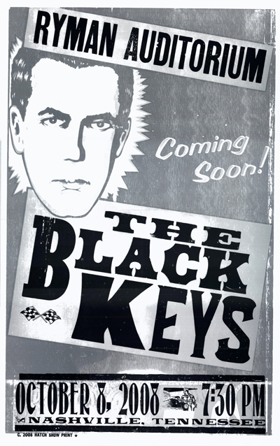 The Black Keys, 3-color letterpress show poster, 2008