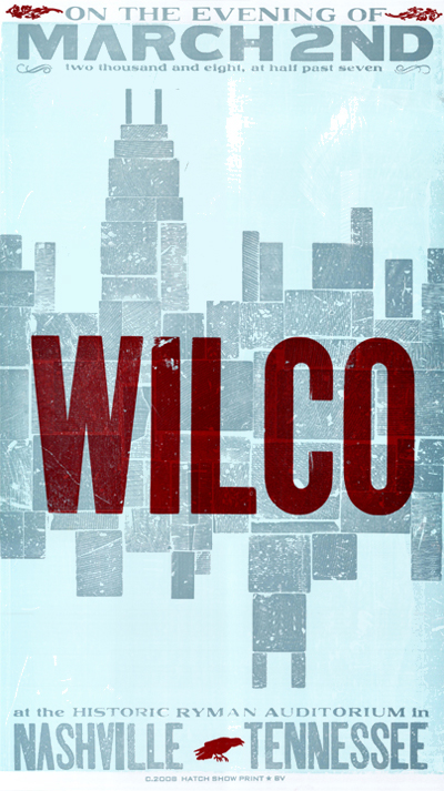 Wilco, 3-color letterpress show poster, 2008