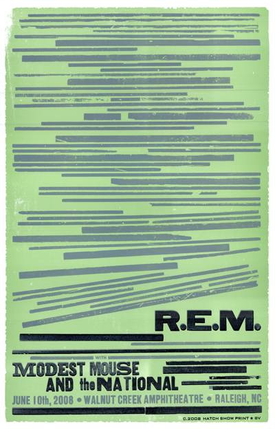 R.E.M., 3-color letterpress show poster, 2008