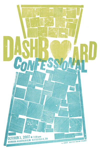 Dashboard Confessional, 2-color letterpress show poster