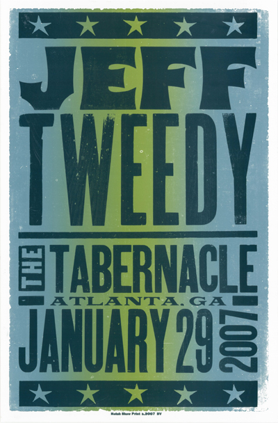 Jeff Tweedy, 2-color letterpress show poster, 2007