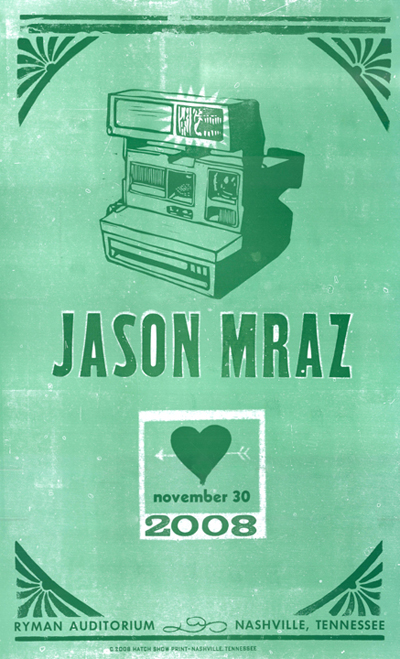 Jason Mraz, 2-color letterpress show poster, 2008