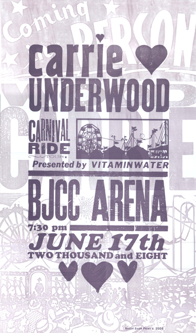 Carrie Underwood, 2-color letterpress show poster, 2007