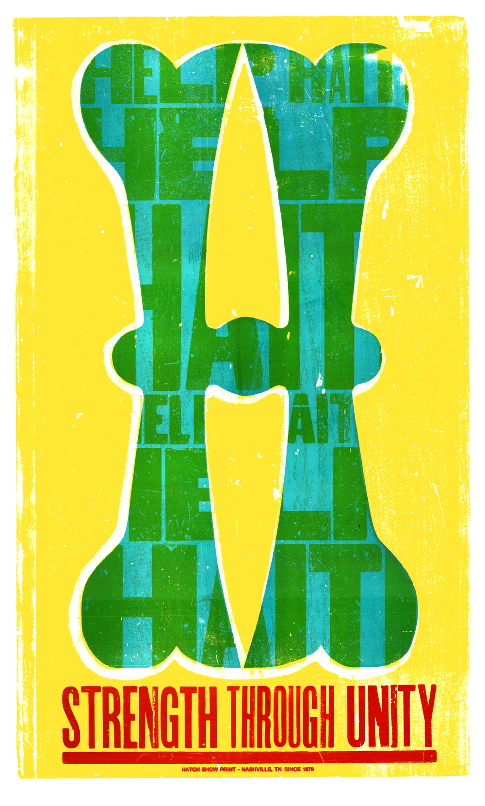 Haiti Poster Project, 4-color letterpress benefit poster, 2010
